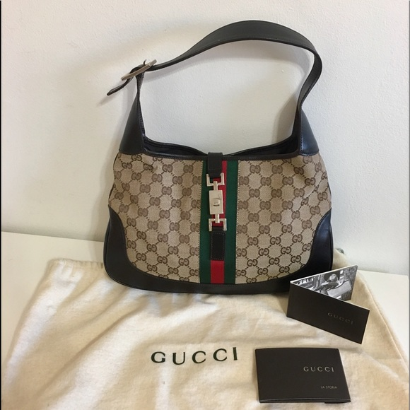 46b356fbd56 Gucci Handbags - Authentic GUCCJ Jackie O hobo bag brown canvas